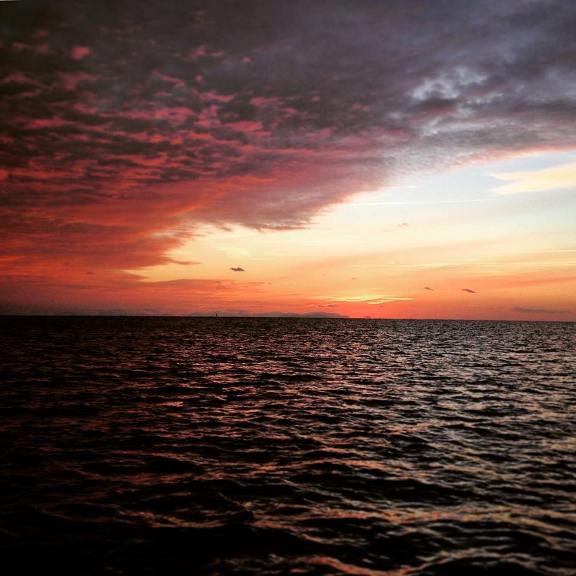 magnifico tramonto al rientro